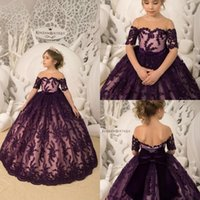 Wholesale tulle illusion flower girl online - Grape Flower Girl Dresses Short Sleeve Lace Sequins With Big Bow Girls Pageant Gowns Toddlers First Communion Gowns BC1393