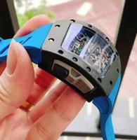 Wholesale rubber tourbillon online - Fashion Brand Luxury Men Business Watches Tourbillon Date Tonneau Fan Carbon NTPT Fiber Case Blue Rubber strap Mens Antique Wristwatches