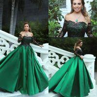 zarif zümrüt yeşil gelinlik toptan satış-2019 Vintage Zümrüt Yeşil Siyah Dantel Uzun Kollu Balo Parti Elbiseler Kapalı Omuz A Line Orta Doğu Zarif Abiye giyim