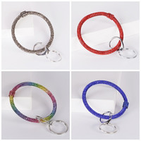 Wholesale car key ring holder for sale - Group buy Sports Wrap Bracelet Keychains Rhinestone Silicone Keys Holder Wristbands For Promotional Gifts Key Ring Bangle Colors zy E1
