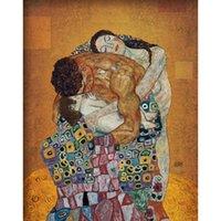 pinturas de óleo do óleo de klimt de gustavo venda por atacado-Pintados à mão arte Da Lona A Família por Gustav Klimt reprodução de pinturas a óleo Os Amantes bela obra de arte para decoração da parede do quarto