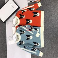 ingrosso cane tessuto cotone-Maglioni per bambini nuovi arrivi abbigliamento firmato per bambini coperto con motivo a motivo cane pullover da bambina in tessuto cashmere autunno