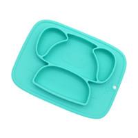 silikon schalen kinder großhandel-Baby Fütterung Saugplatte BPA frei Silikon Kleinkind Schüssel Kinder Cartoon Schwein rutschfeste Geschirr Pad