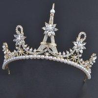 pedrería corona de hierro al por mayor-Novia casarse con una corona adornos de hierro torre de la cabeza del Rhinestone nupcial ornamento del pelo una caja de accesorios de boda corona de la tiara del pelo de novia velos diseñador