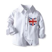 jaques roupa venda por atacado-Crianças Meninos Camisa Sólida Union Jack Impresso Único Breasted Roupas de Algodão de Manga Longa Roupas de Algodão Branco Crianças 1-6 T