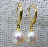 ingrosso perla naturale 12mm-trasporto libero NUOVO stordimento un paio di 9.5-12mm naturale south sea gocciolamento bianco perla orecchino 14k / 20