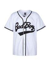 ropa de fiesta xxl al por mayor-Badboy # 10 Biggie Baseball Jersey S-XXXL Blanco, 90S Hip Hop Ropa para fiesta, letras y números cosidos