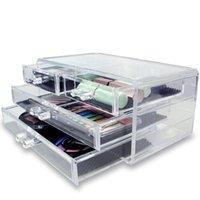 boîtes à bijoux en acrylique clair achat en gros de-Nouveauté 3-Couche Transparent Acrylique Tiroirs Style Maquillage Cosmétiques Boîte à Bijoux Cas Organisateur