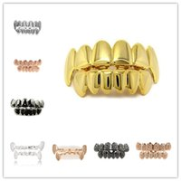 Wholesale Gold Plated Hip Hop Teeth Grillz Designs Top Bottom Dental Grills Mouth Punk Teeth Caps Cosplay Party Vampire Grills Rapper Jewelry Gifts