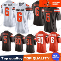 Wholesale jerseys online - 6 Baker Mayfield Cleveland Brown Jersey Jabrill Peppers Myles Garrett Jarvis Landry Joe Thomas Denzel Ward Stitched