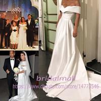 Wholesale cheap beach wedding dresses for sale - Simple Satin Beach Wedding Dresses Cheap Elegant Off The Shoulder Wedding Dress Capped Bohemian Country Brides Dress Vestidos De Novia