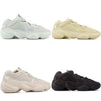 atletik ayakkabı tasarımcıları toptan satış-Dalga Koşucu 500 Allık Tuz Untility Siyah Süper Ay Sarı Koşu Ayakkabıları Kanye West Tasarımcı Atletik Sneaker Spor Ayakkabı