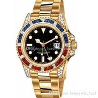diamante relógio gmt venda por atacado-New18k top de ouro Relógio de Luxo GMT Diamante automático Mecânico Preto azul Cerâmica Bezel 116759 116758 116718 relógio de pulso Mens de aço inoxidável