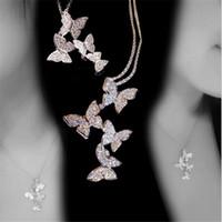 weißgold schmetterling anhänger groihandel-Neue Ankunfts-klassische Schmucksachen 925 Sterlingsilverrose Gold-Fill Pave White Sapphire CZ-Diamant-Schmetterlings-Anhänger Damen Halskette