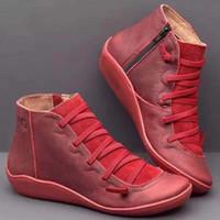 botas de encaje de cuero para mujer al por mayor-botas de invierno de las mujeres de pieles de nieve diseñador tamaño de arranque de cuero negro gris, azul, rosa botas para mujer de tobillo 35-43 mujeres ata arranca