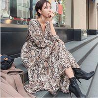 balık baskı elbise toptan satış-Kadın yılan baskı ayak bileği uzunluk elbise uzun kollu Fırfır kadın casual chic Balık kuyruğu elbiseler vestidos