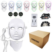 ingrosso fotone ha portato le luci per il viso-2 tipi 7 colori maschera elettrica viso maschera facciale macchina terapia della luce acne maschera collo bellezza led maschera led terapia fotonica