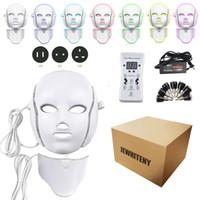 tipos de máquinas faciais venda por atacado-2 Tipos de 7 Cores Elétrica Levou Máscara Facial Máscaras Faciais Máquina Terapia de Luz Máscara de Acne Pescoço Beleza Levou Máscara Levou Photon Terapia
