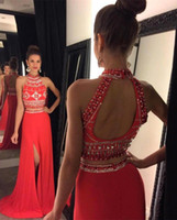 Wholesale girl wearing two piece shirt resale online - Sexy Halter Neck Beaded Two Pieces Prom Dresses with Side Split Long Sweep Girls Pageant Party Wear Evening Gowns Custom Made