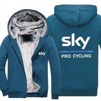 ingrosso cappuccio ciclismo-inverno Felpe con cappuccio SKY PRO CYCLING Uomo donna Caldo autunno felpe vestiti Zipper giacca in pile con cappuccio