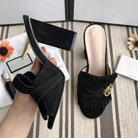 sandales à talons hauts achat en gros de-Pantoufles de luxe femme créateur de mode sandales en cuir véritable 7.5cm 10cm pantoufles à talons hauts chaussures de sport tongs de haute qualité