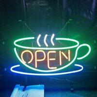 café da luz de néon venda por atacado-Café ABERTO Sinal de Néon Lâmpada de Design de Cerveja Publicidade Casa Decoração Presente Da Arte de Exibição de Vidro Real de Luz de Néon de Metal Quadro 17 '' 24 '' 30''40 ''