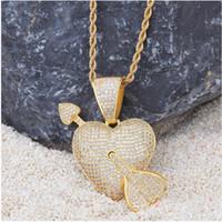 Wholesale cupid pendant gold resale online - Euro American Hip hop Love Drop An Arrow Through the Heart Micro inlaid Zircon Drop K Gold Electroplated Cupid Arrow