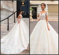Wholesale sexy open back wedding dresses for sale - 2019 New Lace Applique Wedding Gowns Open Back Long Sleeve Bridal Dress A Line Court Train Plus Size Wedding Dresses