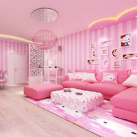 tapete für wände rosa großhandel-Wall Room Modern Papers Wohnkultur Pink Strip Wallpaper Für Mädchen Schlafzimmer Kinderzimmer Wallpaper Roll Vertical Stripped Wallpapers