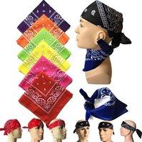 Wholesale bandanna scarf resale online - 55 CM Bandanna Paisley Print Handkerchief Magic Scarf Riding Headband Square Turban Outdoor Hiking Face Magic Scarf LJJK2023