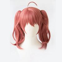 ingrosso capelli lunghi anime cosplay-Dropshipping Anime DARLING in FRANXX MIKU 390 Cosplay rosa lungo ricci ragazze capelli maschili anti-rughe parrucche sintetiche per le donne