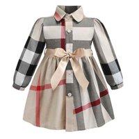 kız çocuk batı elbisesi toptan satış-2019 Batı resmi kızlar parti elbise büyük İngiliz ekose yaka desen çocuklar çocuk elbise giyim yay ile