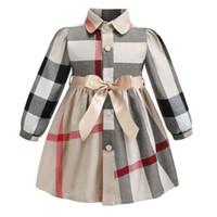 ropa occidental para niñas al por mayor-2019 Western formal girls party dress big british plaid patrón de solapa niños vestido de los niños ropa con arco