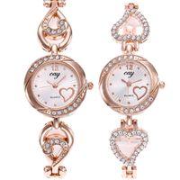 Wholesale heart shaped glasses diamonds resale online - new women ladies alloy metal love heart shape bracelet watches fashion lady dress quartz diamond wrist watches