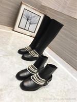 stiefel schnallen ketten großhandel-Damen Schwarz Leder High Heel Stiefel, Metallelemente Kettenstiefel Lady Boot Booties mit Schnalle mit Box Größe 35-41