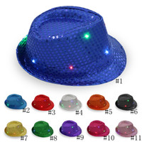 vestidos luminosos al por mayor-LED Jazz Hats Flashing Light Up Fedora Gorras Lentejuelas Cap Fancy Dress Dance Party Hat Unisex Hip-Hop Lamp Luminous Hat GGA2564