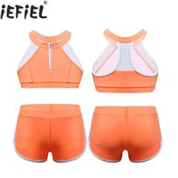 Wholesale teenage bikini girls resale online - Baby Girl Bikini Set Teenage Kids Swimwear Bathing Swimming Suit Children Swimsuit Children Sportwear Crop Top Bottoms Short
