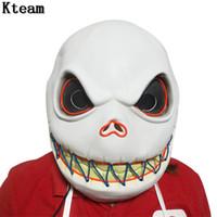 Wholesale skull props resale online - Led glowing Costume The Nightmare Before Christmas Cosplay Jack Skellington Costume Props Mask Skull Helmet Party Halloween Accessory