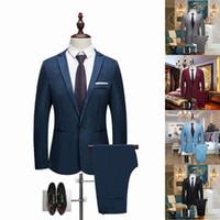 chaquetas de fiesta casuales al por mayor-Hombres de lujo traje de boda Blazers masculinos Slim Fit trajes para hombres traje de negocios fiesta formal ropa de trabajo informal trajes (chaqueta + pantalones)