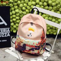 sırt çantası pembe toptan satış-BOoDinerinle Kadınlar Sırt Çantası Tuval Wterproof Sırt Çantaları Kız Pembe Tatlı Karikatür Baskılı Okul Çantası Harajuku kadın Sırt Çantası