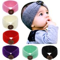 botões para headbands venda por atacado-Baby Knitting Headband Crianças Designer Headband Botão De Lã Tecelagem Cor Sólida Manter Quente Fivela De Madeira Headband 49