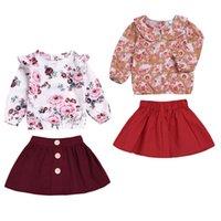 camisa de verão vermelho de bebê venda por atacado-Pretty Kids Baby Girl Conjuntos de Roupas de Verão Applique Flor Tops T-shirt + Saia Tutu Vermelho 2 Pcs Bonito Menina de Algodão Roupas de Festa 1-6A