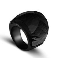 ingrosso grandi anelli di pietra-ZMZY 2019 New Fashion Black Large Anelli per le donne Gioielli da sposa Big Crystal Stone Ring 316L Anelli in acciaio inox