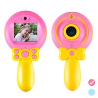 mini dv fotoğraf makinesi mikro sd kartı toptan satış-2019 lolipop yeni dijital çocuk kamera karikatür sihirli sopa mini SLR çocuk kamera