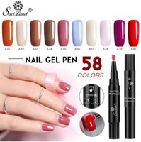 Wholesale newest gel nails online - Hot Saviland Newest Colors Gel Nail Varnish Pen Glitter Hybrid Dawdler UV Nail Art Gel Lacquer Gel Paint
