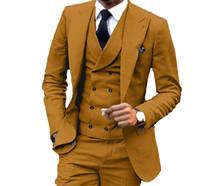 ingrosso maglia gialla per gli uomini-Slim Fit marrone smoking smoking giallo picco bavero sposo abito da sposa uomo popolare giacca uomo giacca 3 pezzo Suit (giacca + pantaloni + vest + cravatta) 1047