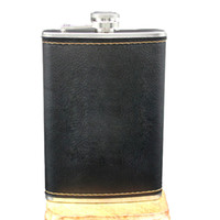 oz frasco de bolsillo al por mayor-De alta calidad de acero inoxidable 9 oz Hip Frasco Whisky de cuero botella de vino Retro grabado Alcohol bolsillo Flagon con caja regalos