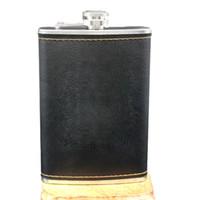 frascos de cuero al por mayor-ventas calientes de alta calidad en acero inoxidable 9 Oz petaca de piel whisky de la botella de vino Retro Grabado alcohol bolsillo Flagon con regalos Box