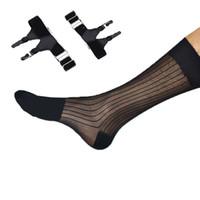 medias de spandex blancas al por mayor-Zapatos de cuero de seda a rayas negro medias y ligas uniformes Calcetines de cuello blanco calcetines transparentes