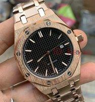 carvalhos reais ouro venda por atacado-Designer movimento Mens Watch mecânico automático Rose Gold Royal Oak homens Relógio de luxo 15400 de aço inoxidável dos homens Relógios de pulso